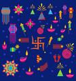 diwali elements hindu festival vector image vector image