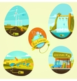 Ecological energy cartoon set vector image vector image