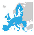 european union territory blue silhouette map of vector image vector image