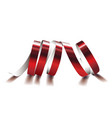festive red ribbon on white background realistic vector image vector image