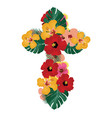floral cross vector image