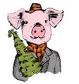 funny pig with xmas tree greeting card vector image vector image