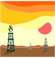 Gas rig in waste landscape vector image vector image