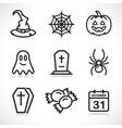 halloween thin line icons set vector image