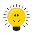 happy conceptual lightbulb icon vector image vector image