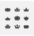 icons set of different black crowns shapessigns vector image vector image