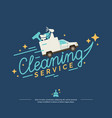 logo for a cleaning service with car vector image vector image