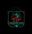 magic cauldron with a bat handle vector image vector image