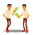 manager holding envelope with money in hand vector image vector image