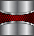 metal brushed background with red perforated vector image vector image