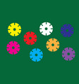 multicolored circles isolated green background vector image