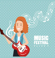 music festival live with woman playing electric vector image vector image