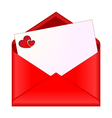 Open envelope with romantic stationery vector image vector image