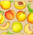 peach fruits pattern on color background vector image