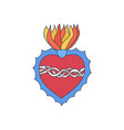 sacred heart doodle icon vector image vector image