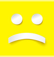 sad smile in paper style on yellow background vector image vector image