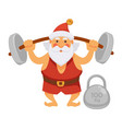 santa sport exercise barbell daily christmas life vector image vector image
