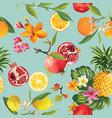 seamless tropical fruits pattern orange lemon vector image vector image
