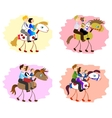 Set of images of funny family - mother father vector image