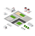set of modern isometric buildings vector image vector image