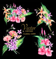 set of tropical vintage floral bouquet vector image vector image