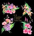 set tropical vintage floral bouquet vector image vector image