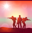 silhouette a soldiers against sunrise vector image vector image