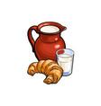 sketch glass of milk jug crock croissant vector image vector image