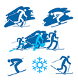 Skiers icons on the grunge background vector image