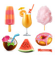 summer sweet food ice cream orange juice cotton vector image