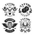 tattoo studio four black vintage emblems vector image vector image