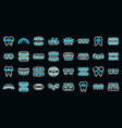 tooth braces icons set neon vector image vector image