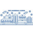 usa florida fort lauderdale winter city skyline vector image vector image