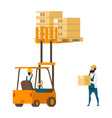 warehouse character lifting box by forklift car vector image vector image