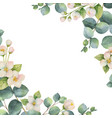 watercolor green floral card with vector image