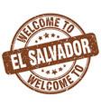 welcome to el salvador brown round vintage stamp vector image vector image