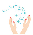woman hands and brilliance star vector image vector image