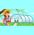 woman with crop on greenhouse background vector image