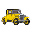 Yellow vintage car vector image vector image