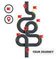 winding road with pins and flags isolated vector image