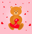bear with red hearts on pink baclground greeting vector image