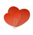 two heart paper clip vector image