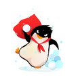 angry penguin in hat playing throwing snowballs vector image