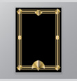 art deco template golden-black a4 page menu vector image