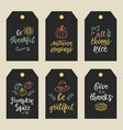 autumn and thanksgiving day gift tags vector image vector image