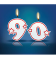 Birthday candle number 90 vector image vector image