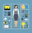 cartoon assemble businesswoman color icon set vector image vector image
