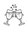 champagne icon doddle hand drawn or black outline vector image vector image