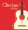 christmas songs guitar on red background greeting vector image vector image