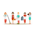 cleaning people in flat style vector image vector image